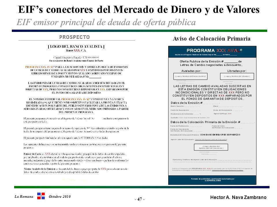 - 47 - EIFs conectores del Mercado de Dinero y de Valores Hector A.