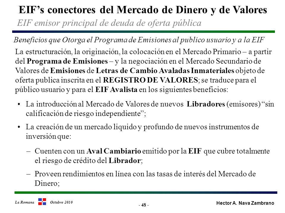 - 48 - EIFs conectores del Mercado de Dinero y de Valores Hector A.