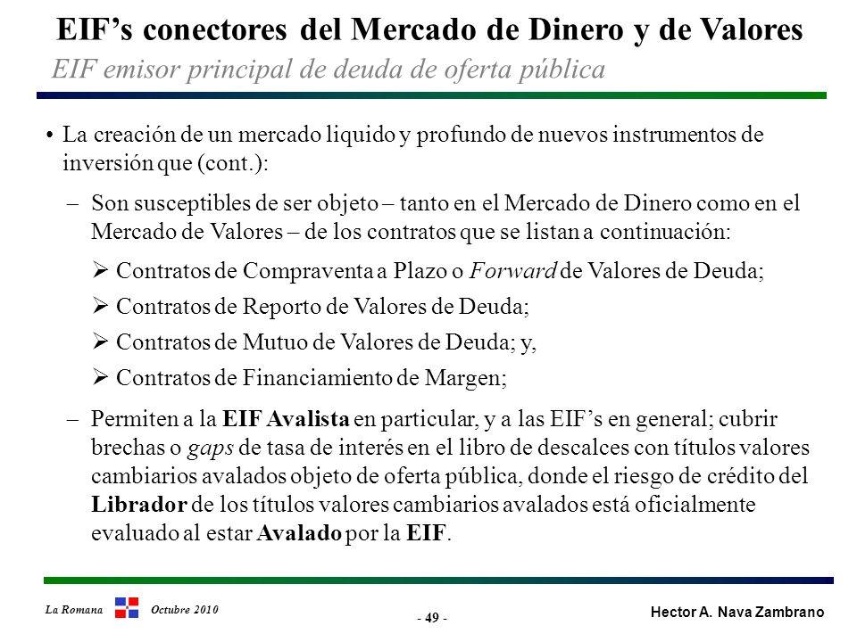 - 49 - EIFs conectores del Mercado de Dinero y de Valores Hector A.