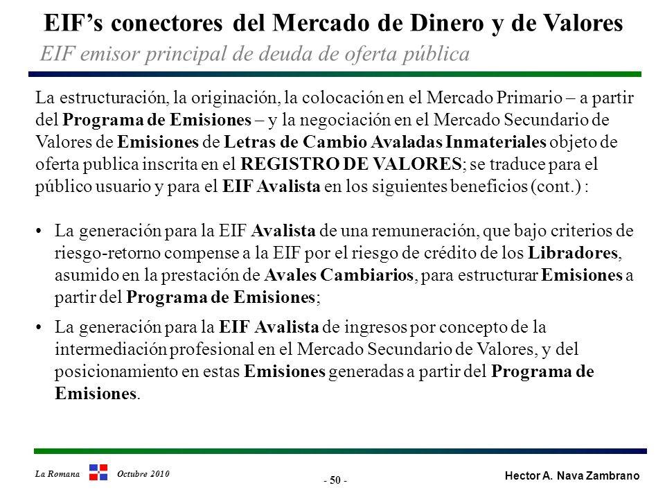 - 50 - EIFs conectores del Mercado de Dinero y de Valores Hector A.