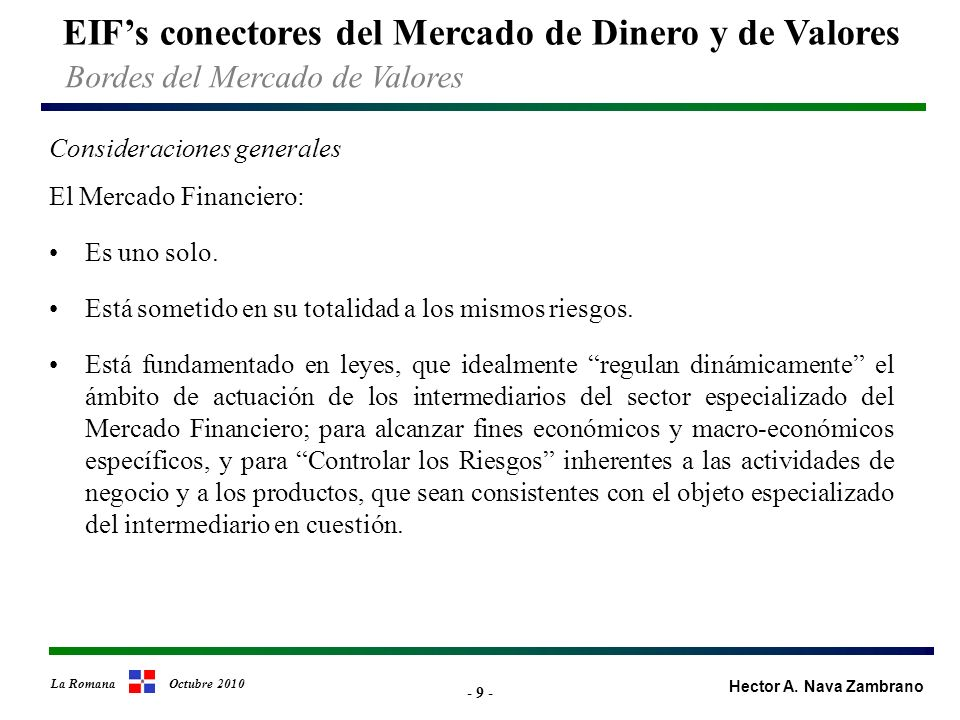 - 30 - EIFs conectores del Mercado de Dinero y de Valores Hector A.