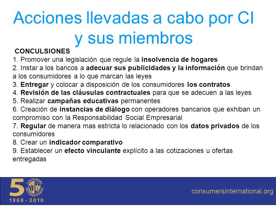 consumersinternational.org Acciones llevadas a cabo por CI y sus miembros CONCULSIONES 1. Promover una legislación que regule la insolvencia de hogare