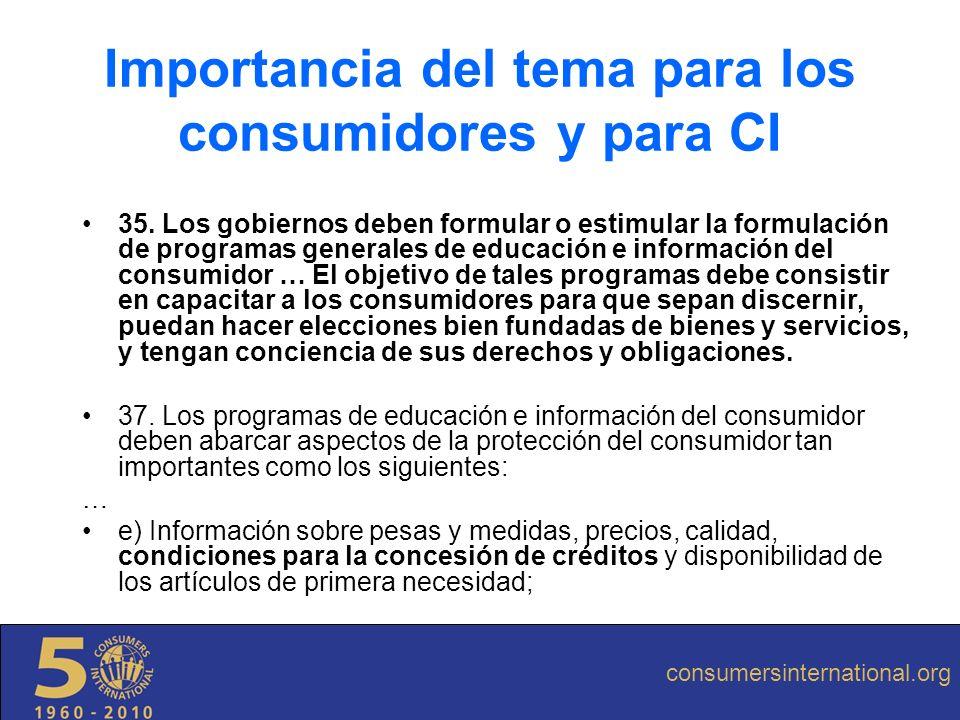 Las leyes de defensa del consumidor de América Latina incluyen al crédito como uno de los temas tutelados CI asume el tema como el más relevante actualmente para los consumidores Los datos que existen en America Latina hablan por si solos Importancia del tema para los consumidores y para CI consumersinternational.org