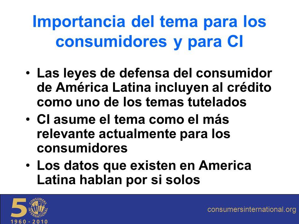 Las leyes de defensa del consumidor de América Latina incluyen al crédito como uno de los temas tutelados CI asume el tema como el más relevante actua