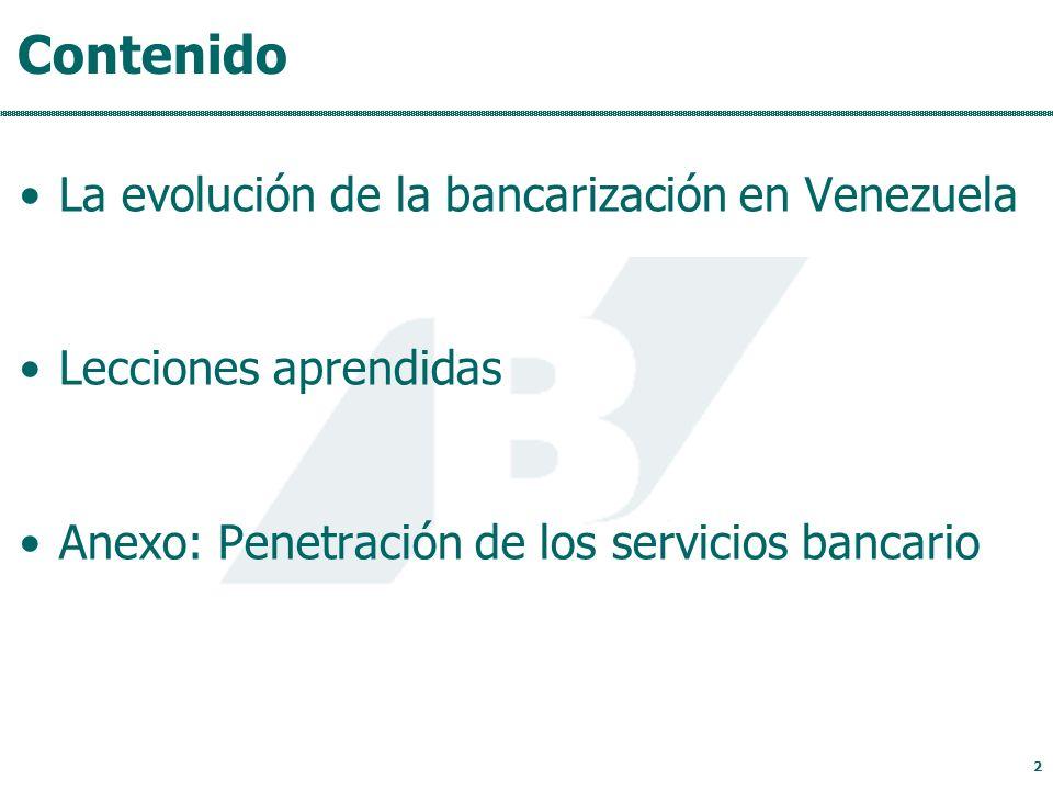 Contenido La evolución de la bancarización en Venezuela Lecciones aprendidas Anexo: Penetración de los servicios bancario 2