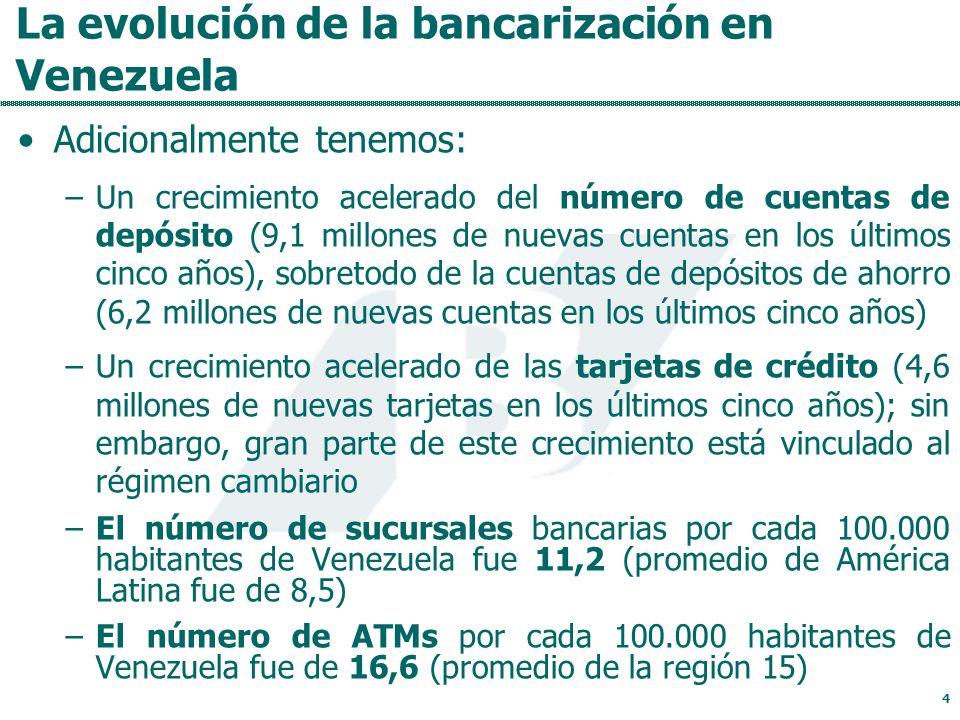 La evolución de la bancarización en Venezuela Adicionalmente tenemos: –Un crecimiento acelerado del número de cuentas de depósito (9,1 millones de nuevas cuentas en los últimos cinco años), sobretodo de la cuentas de depósitos de ahorro (6,2 millones de nuevas cuentas en los últimos cinco años) –Un crecimiento acelerado de las tarjetas de crédito (4,6 millones de nuevas tarjetas en los últimos cinco años); sin embargo, gran parte de este crecimiento está vinculado al régimen cambiario –El número de sucursales bancarias por cada 100.000 habitantes de Venezuela fue 11,2 (promedio de América Latina fue de 8,5) –El número de ATMs por cada 100.000 habitantes de Venezuela fue de 16,6 (promedio de la región 15) 4