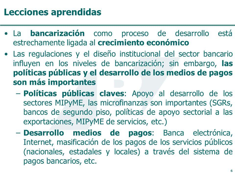 Lecciones aprendidas La bancarización como proceso de desarrollo está estrechamente ligada al crecimiento económico Las regulaciones y el diseño institucional del sector bancario influyen en los niveles de bancarización; sin embargo, las políticas públicas y el desarrollo de los medios de pagos son más importantes –Políticas públicas claves: Apoyo al desarrollo de los sectores MIPyME, las microfinanzas son importantes (SGRs, bancos de segundo piso, políticas de apoyo sectorial a las exportaciones, MIPyME de servicios, etc.) –Desarrollo medios de pagos: Banca electrónica, Internet, masificación de los pagos de los servicios públicos (nacionales, estadales y locales) a través del sistema de pagos bancarios, etc.
