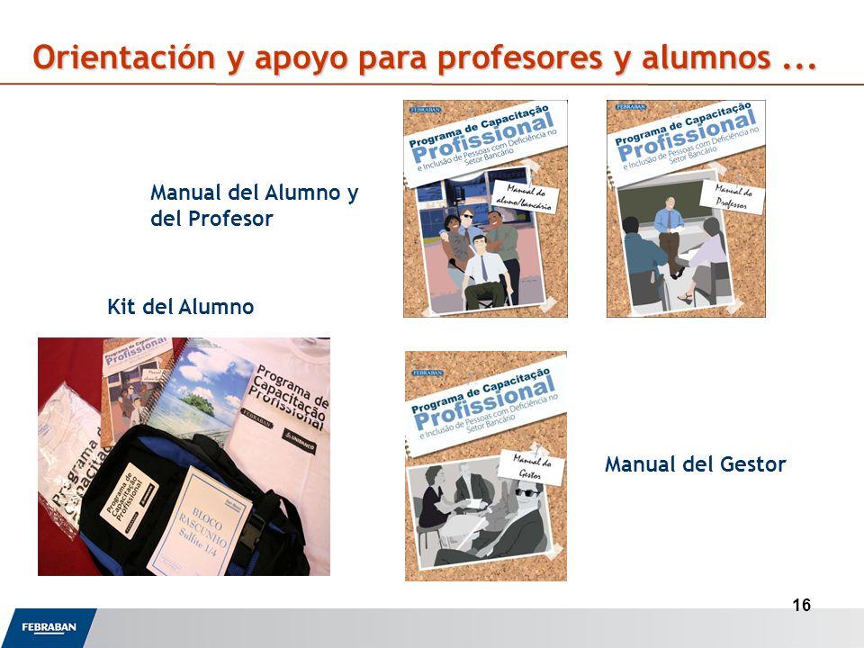 16 Manual del Alumno y del Profesor Orientación y apoyo para profesores y alumnos...
