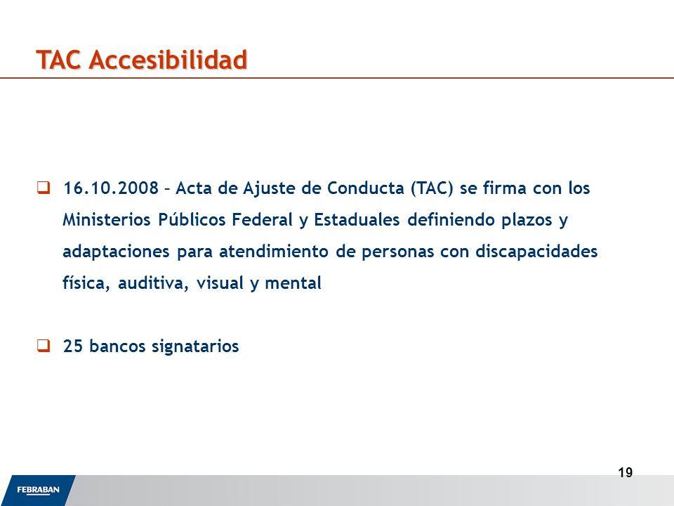 19 TAC Accesibilidad 16.10.2008 – Acta de Ajuste de Conducta (TAC) se firma con los Ministerios Públicos Federal y Estaduales definiendo plazos y adaptaciones para atendimiento de personas con discapacidades física, auditiva, visual y mental 25 bancos signatarios