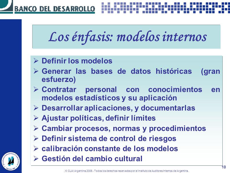 XI CLAI Argentina 2006 - Todos los derechos reservados por el Instituto de Auditores Internos de Argentina. 10 Los énfasis: modelos internos Definir l