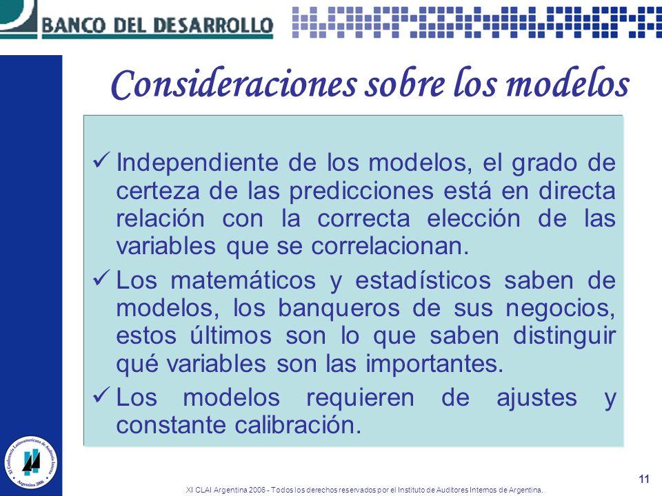 XI CLAI Argentina 2006 - Todos los derechos reservados por el Instituto de Auditores Internos de Argentina. 11 Consideraciones sobre los modelos Indep
