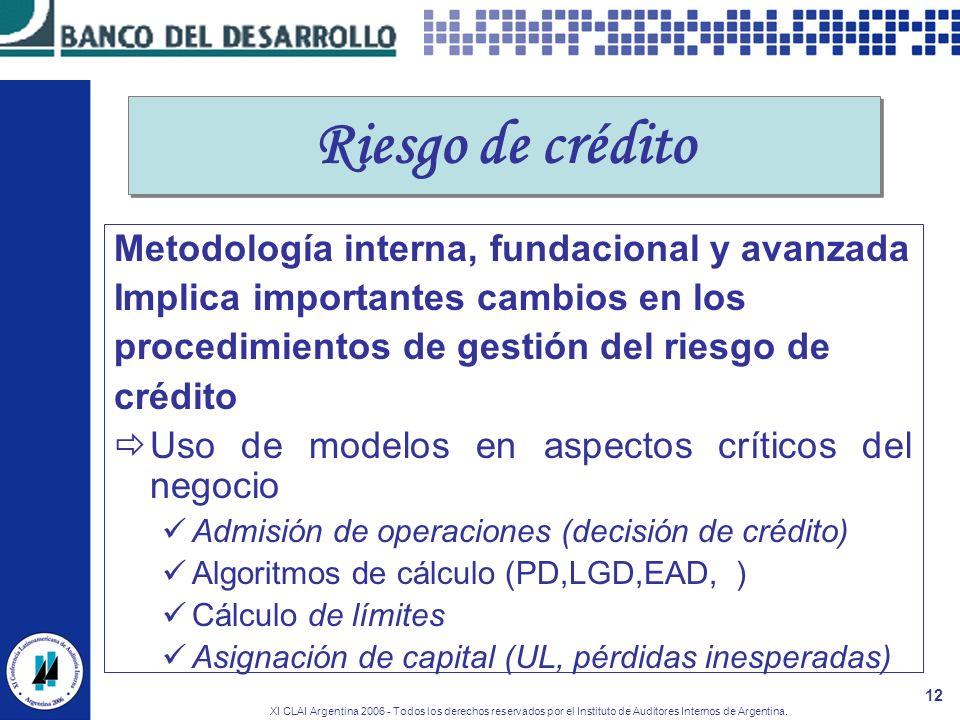 XI CLAI Argentina 2006 - Todos los derechos reservados por el Instituto de Auditores Internos de Argentina. 12 Riesgo de crédito Metodología interna,