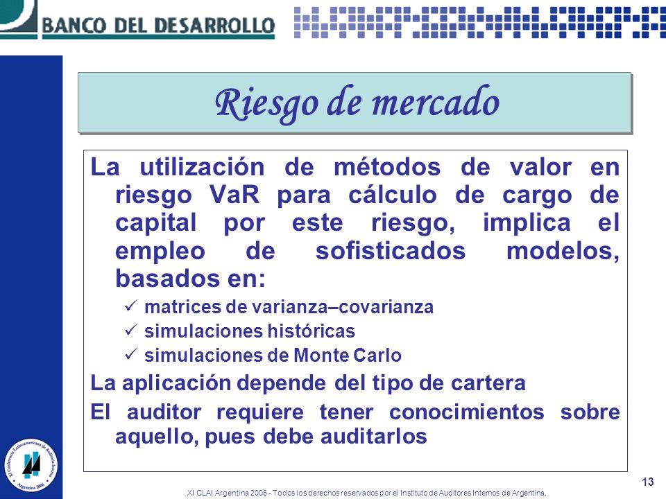 XI CLAI Argentina 2006 - Todos los derechos reservados por el Instituto de Auditores Internos de Argentina. 13 Riesgo de mercado La utilización de mét