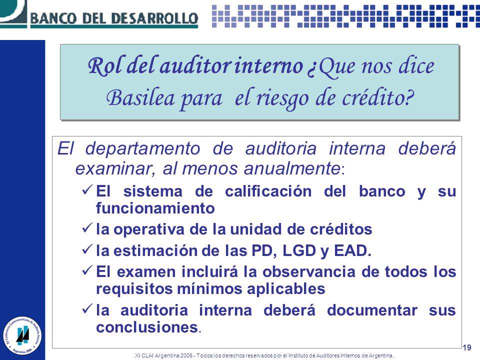 XI CLAI Argentina 2006 - Todos los derechos reservados por el Instituto de Auditores Internos de Argentina. 19 Rol del auditor interno ¿Que nos dice B