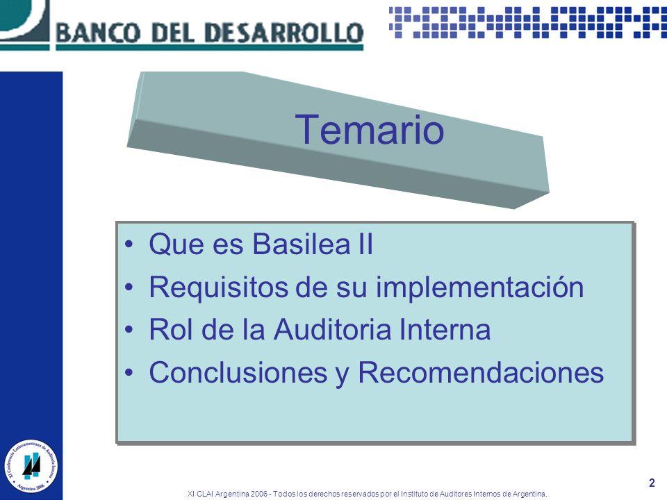 XI CLAI Argentina 2006 - Todos los derechos reservados por el Instituto de Auditores Internos de Argentina. 2 Temario Que es Basilea II Requisitos de
