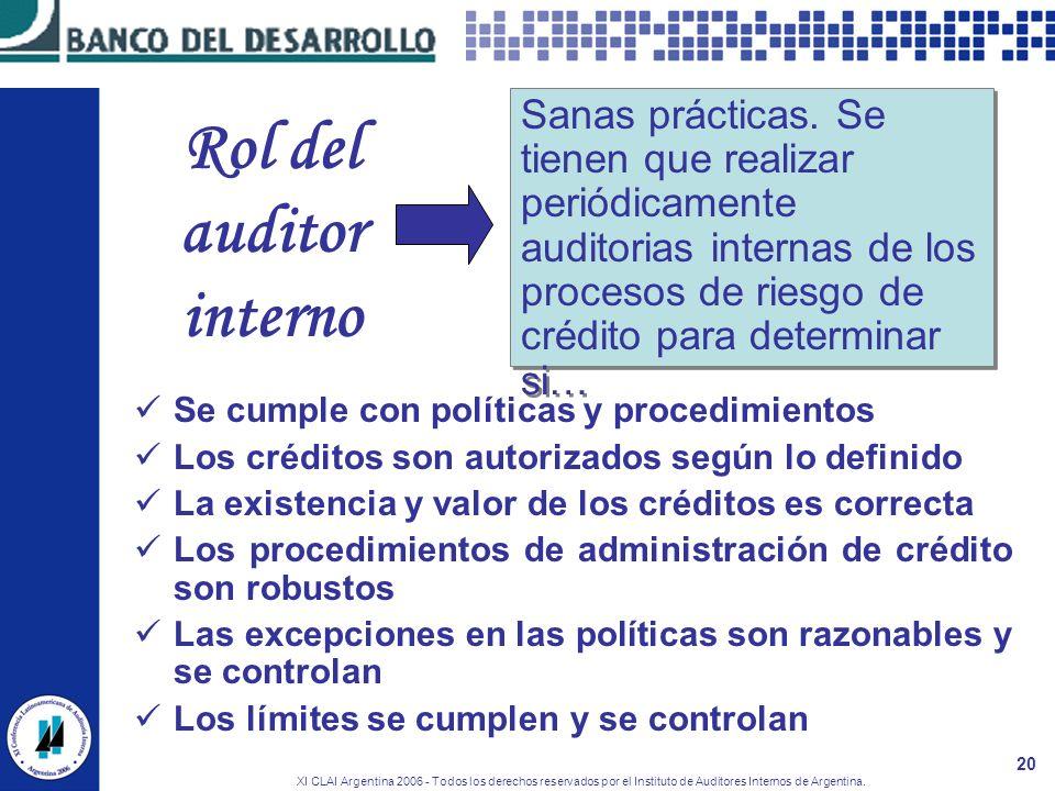 XI CLAI Argentina 2006 - Todos los derechos reservados por el Instituto de Auditores Internos de Argentina. 20 Rol del auditor interno Se cumple con p
