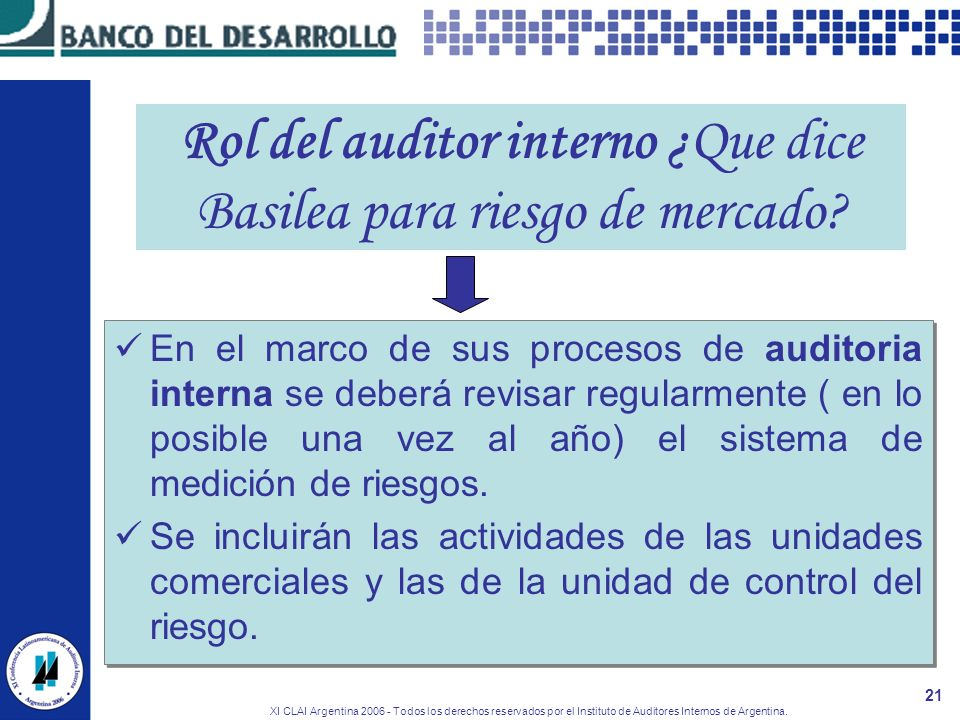 XI CLAI Argentina 2006 - Todos los derechos reservados por el Instituto de Auditores Internos de Argentina. 21 Rol del auditor interno ¿Que dice Basil