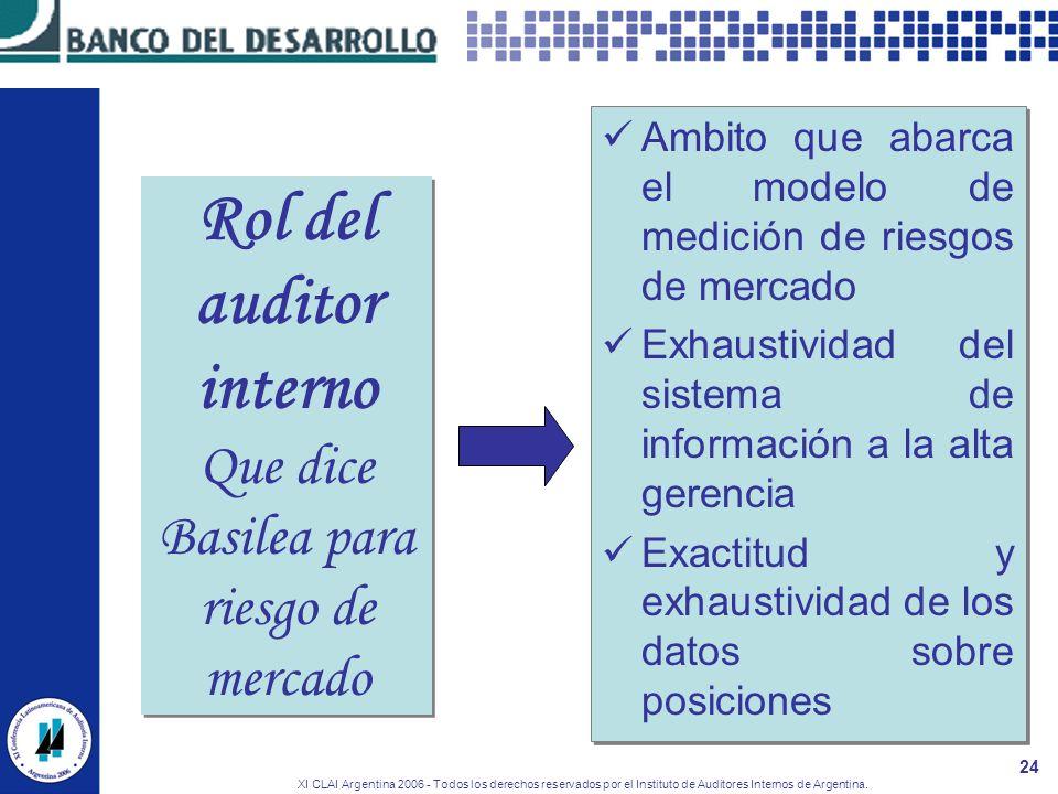 XI CLAI Argentina 2006 - Todos los derechos reservados por el Instituto de Auditores Internos de Argentina. 24 Ambito que abarca el modelo de medición