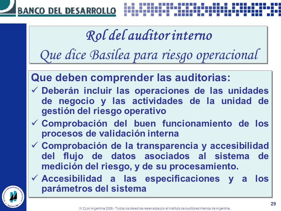 XI CLAI Argentina 2006 - Todos los derechos reservados por el Instituto de Auditores Internos de Argentina. 29 Rol del auditor interno Que dice Basile
