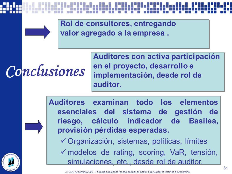 XI CLAI Argentina 2006 - Todos los derechos reservados por el Instituto de Auditores Internos de Argentina. 31 Conclusiones Auditores con activa parti