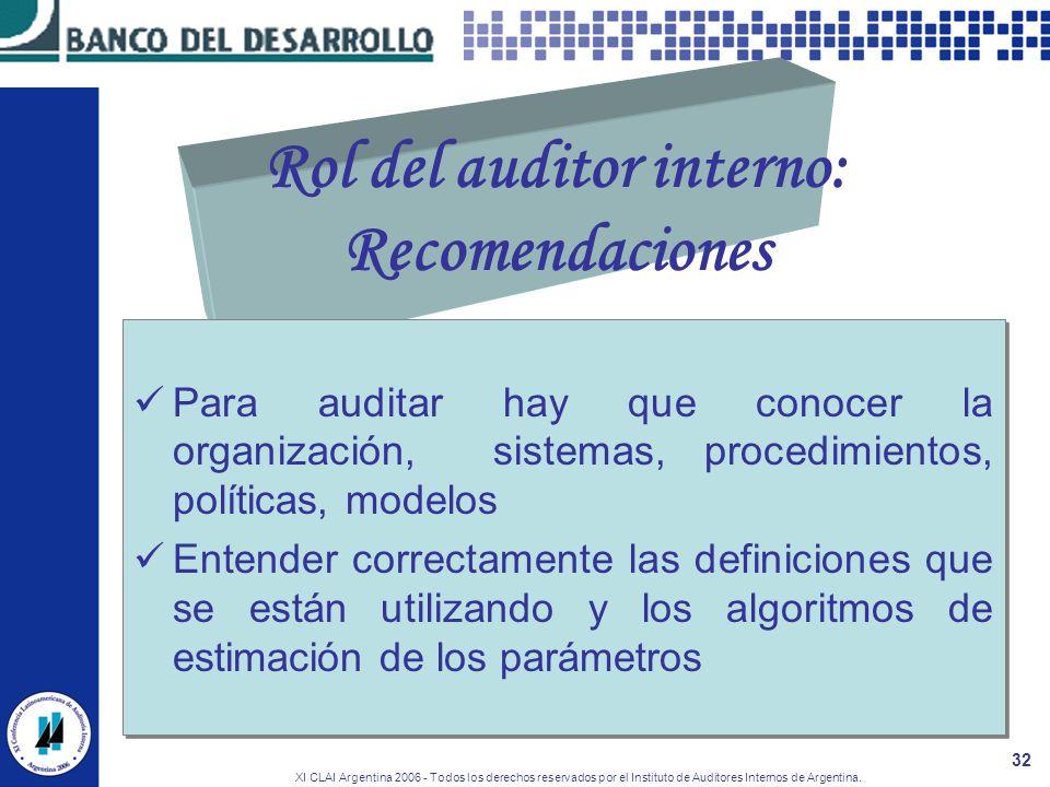 XI CLAI Argentina 2006 - Todos los derechos reservados por el Instituto de Auditores Internos de Argentina. 32 Rol del auditor interno: Recomendacione