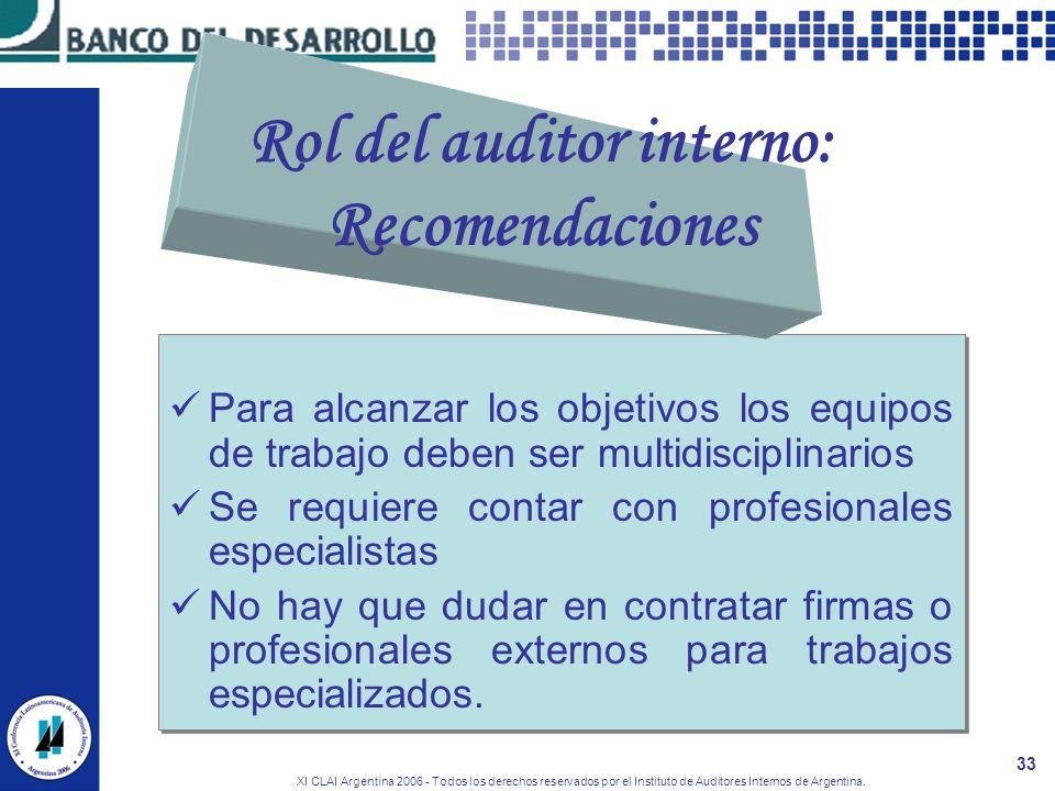 XI CLAI Argentina 2006 - Todos los derechos reservados por el Instituto de Auditores Internos de Argentina. 33 Para alcanzar los objetivos los equipos