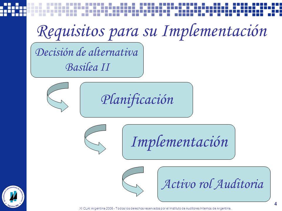 XI CLAI Argentina 2006 - Todos los derechos reservados por el Instituto de Auditores Internos de Argentina. 4 Requisitos para su Implementación Decisi