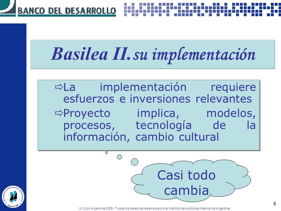 XI CLAI Argentina 2006 - Todos los derechos reservados por el Instituto de Auditores Internos de Argentina. 5 Basilea II. su implementación La impleme