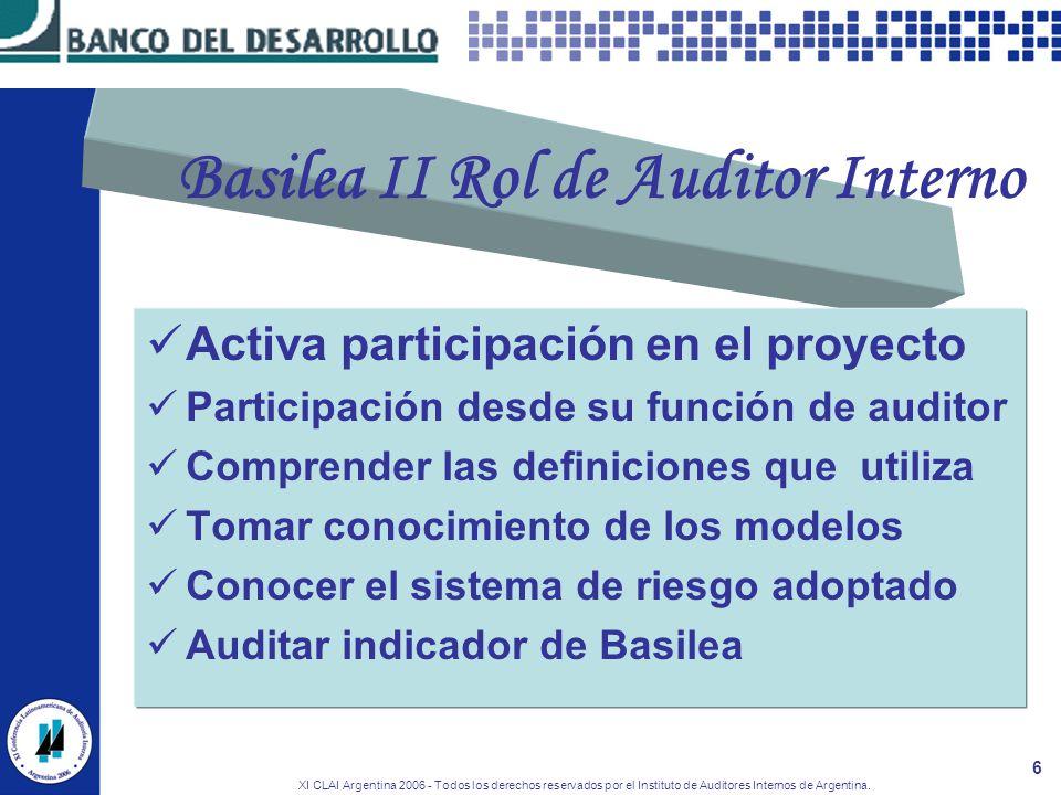 XI CLAI Argentina 2006 - Todos los derechos reservados por el Instituto de Auditores Internos de Argentina. 6 Basilea II Rol de Auditor Interno Activa