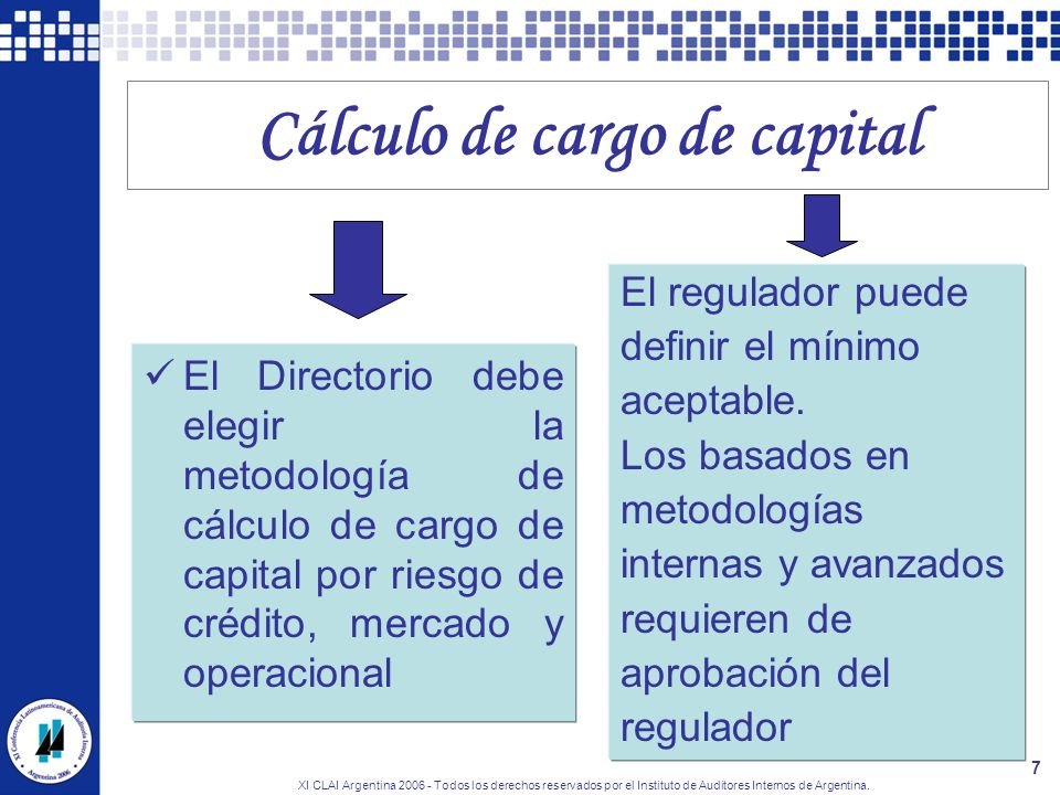XI CLAI Argentina 2006 - Todos los derechos reservados por el Instituto de Auditores Internos de Argentina. 7 Cálculo de cargo de capital El Directori