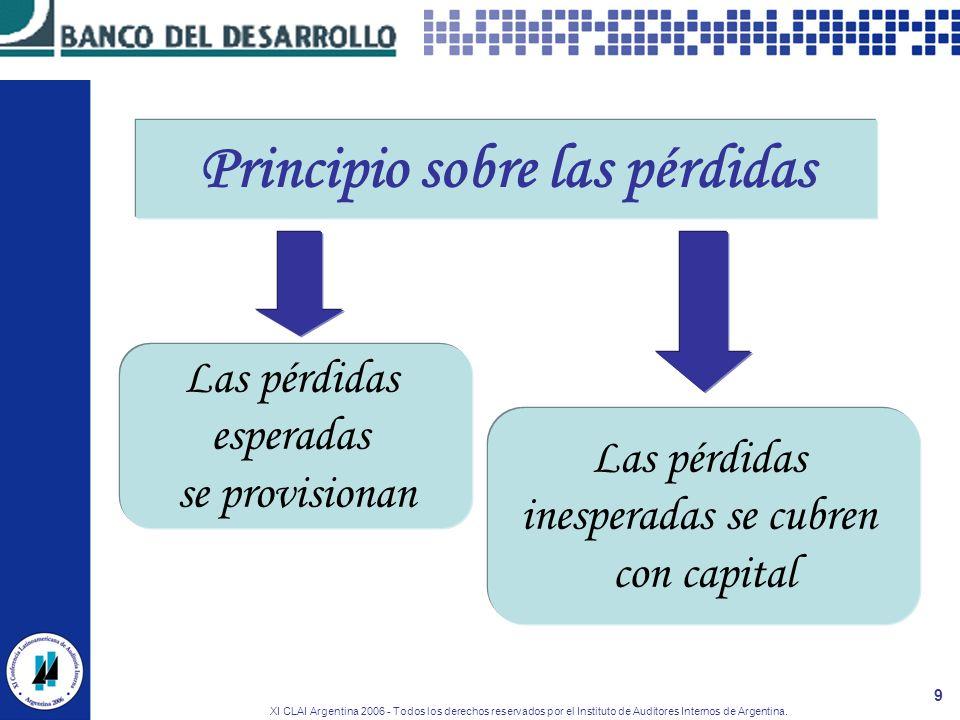 XI CLAI Argentina 2006 - Todos los derechos reservados por el Instituto de Auditores Internos de Argentina. 9 Principio sobre las pérdidas Las pérdida