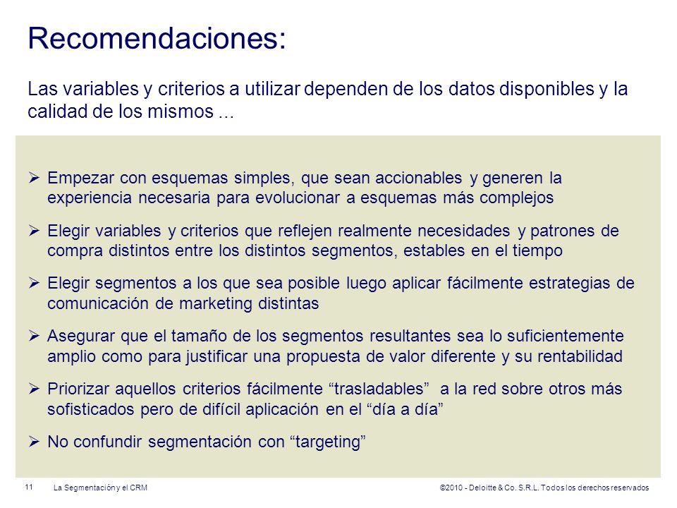 ©2010 - Deloitte & Co. S.R.L. Todos los derechos reservados Recomendaciones: Las variables y criterios a utilizar dependen de los datos disponibles y