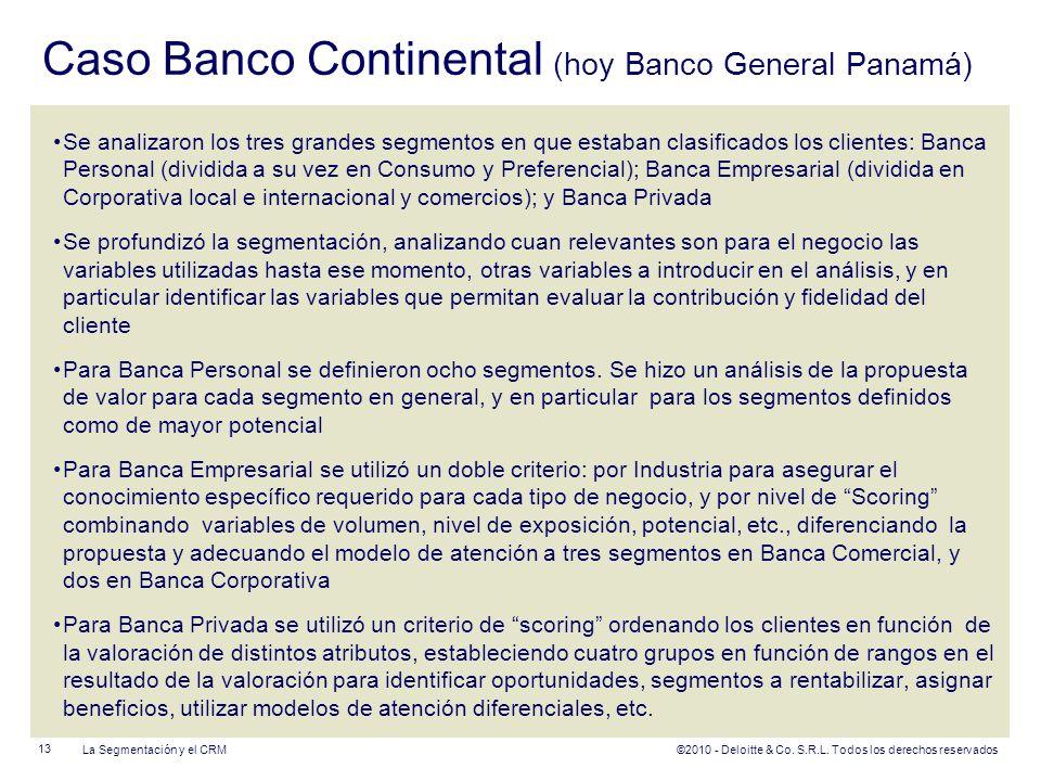 ©2010 - Deloitte & Co. S.R.L. Todos los derechos reservados Caso Banco Continental (hoy Banco General Panamá) Se analizaron los tres grandes segmentos