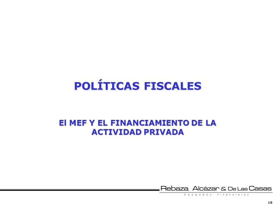 18 POLÍTICAS FISCALES El MEF Y EL FINANCIAMIENTO DE LA ACTIVIDAD PRIVADA