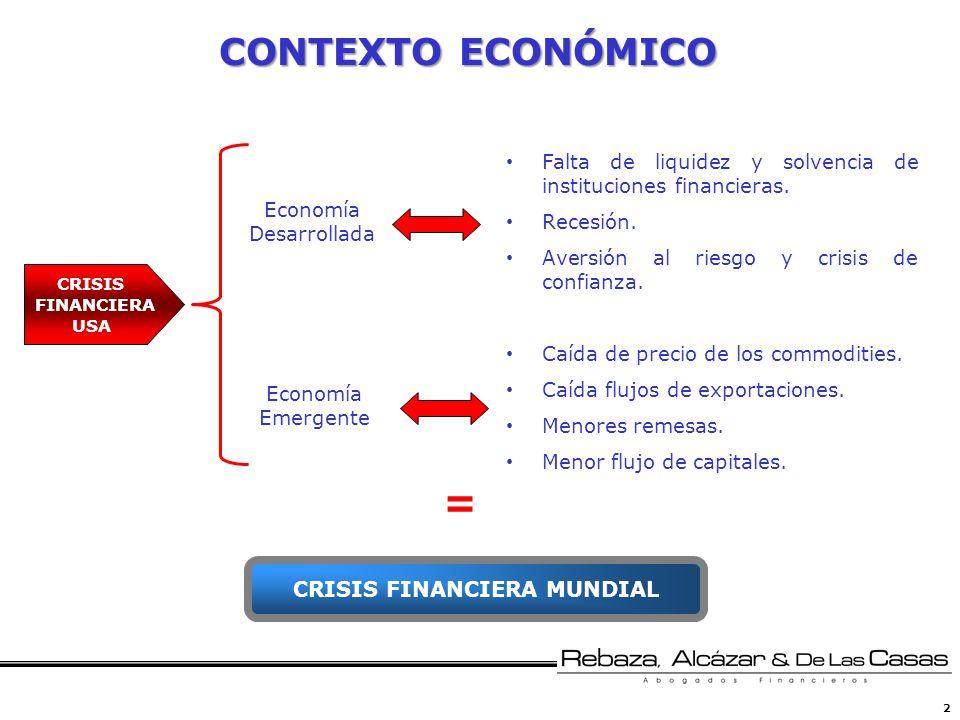 2 CRISIS FINANCIERA USA Economía Desarrollada Economía Emergente Falta de liquidez y solvencia de instituciones financieras. Recesión. Aversión al rie