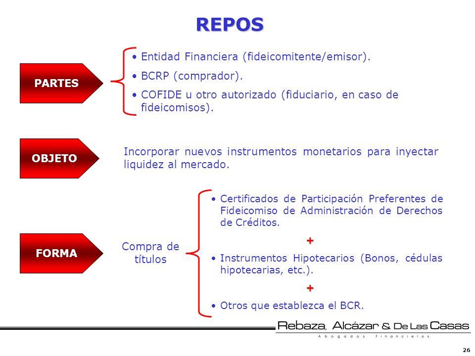 26 REPOS Incorporar nuevos instrumentos monetarios para inyectar liquidez al mercado. Certificados de Participación Preferentes de Fideicomiso de Admi