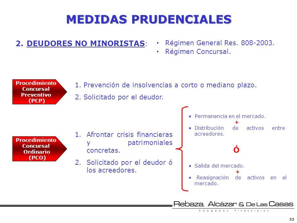 33 MEDIDAS PRUDENCIALES 2.DEUDORES NO MINORISTAS : Procedimiento Concursal Preventivo (PCP) 1.Prevención de insolvencias a corto o mediano plazo. 2.So