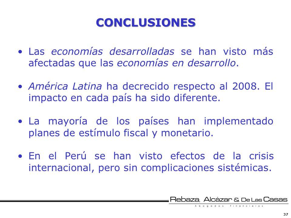 37 CONCLUSIONES Las economías desarrolladas se han visto más afectadas que las economías en desarrollo. América Latina ha decrecido respecto al 2008.
