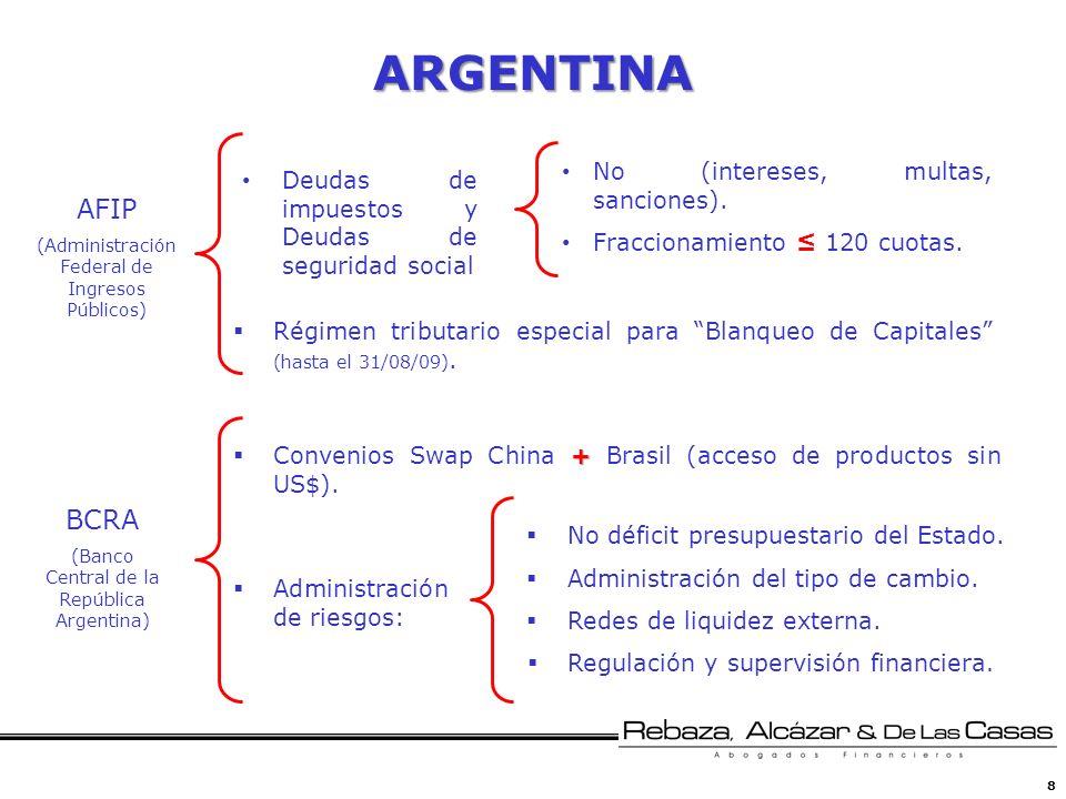8 ARGENTINA No (intereses, multas, sanciones). Fraccionamiento 120 cuotas. AFIP (Administración Federal de Ingresos Públicos) BCRA (Banco Central de l