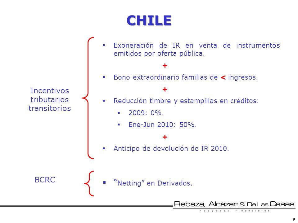 9 CHILE Exoneración de IR en venta de instrumentos emitidos por oferta pública.+ < Bono extraordinario familias de < ingresos.+ Reducción timbre y est