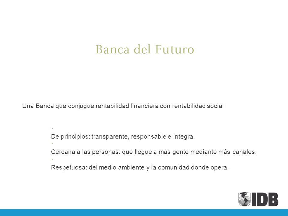 Una Banca que conjugue rentabilidad financiera con rentabilidad social De principios: transparente, responsable e íntegra. Cercana a las personas: que