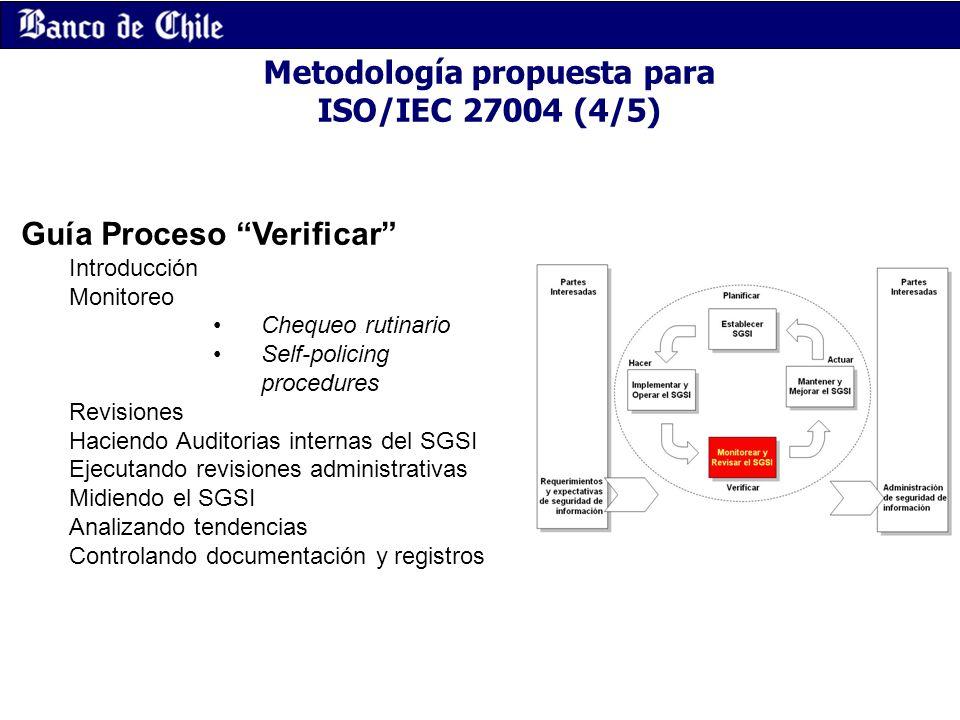 Metodología propuesta para ISO/IEC 27004 (4/5) Guía Proceso Verificar Introducción Monitoreo Chequeo rutinario Self-policing procedures Revisiones Hac