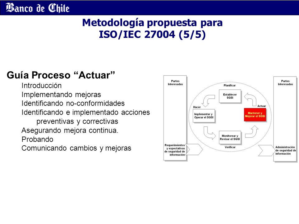 Metodología propuesta para ISO/IEC 27004 (5/5) Guía Proceso Actuar Introducción Implementando mejoras Identificando no-conformidades Identificando e i