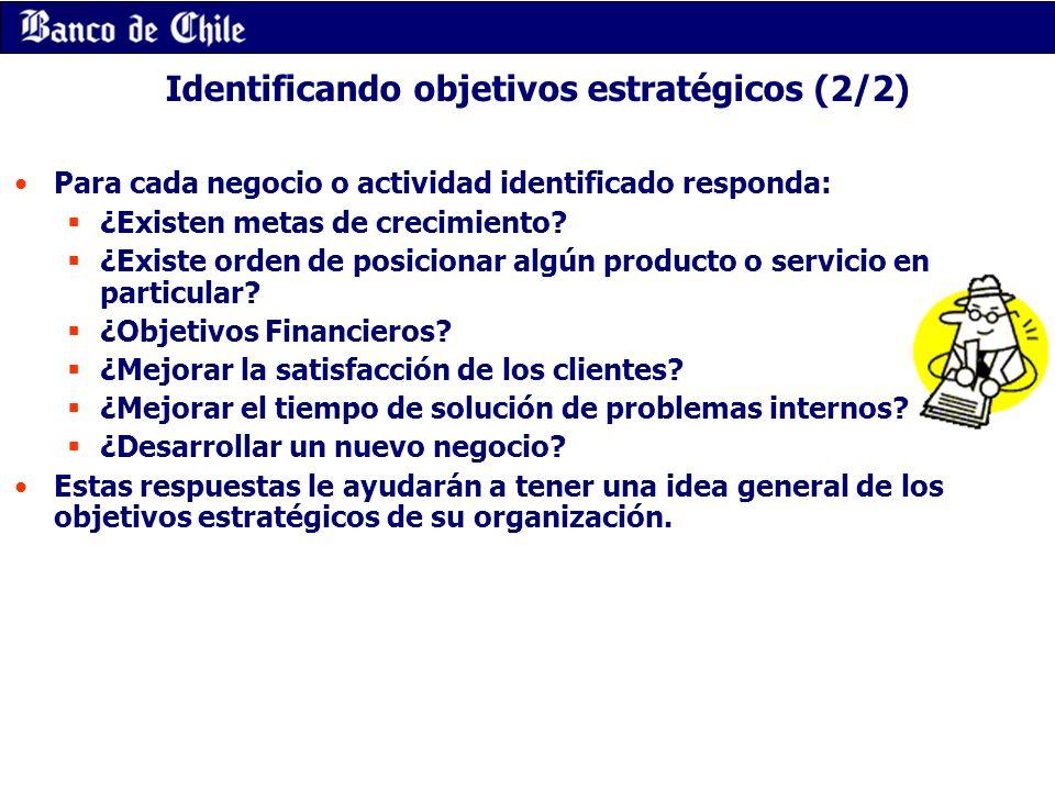 Identificando objetivos estratégicos (2/2) Para cada negocio o actividad identificado responda: ¿Existen metas de crecimiento? ¿Existe orden de posici