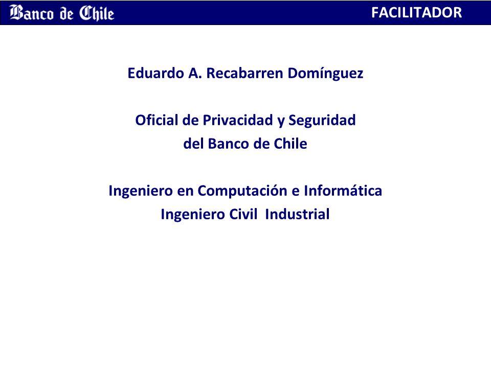 FACILITADOR Eduardo A. Recabarren Domínguez Oficial de Privacidad y Seguridad del Banco de Chile Ingeniero en Computación e Informática Ingeniero Civi