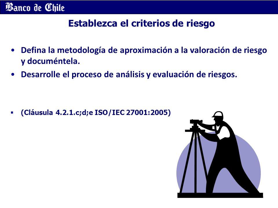 Establezca el criterios de riesgo Defina la metodología de aproximación a la valoración de riesgo y documéntela. Desarrolle el proceso de análisis y e