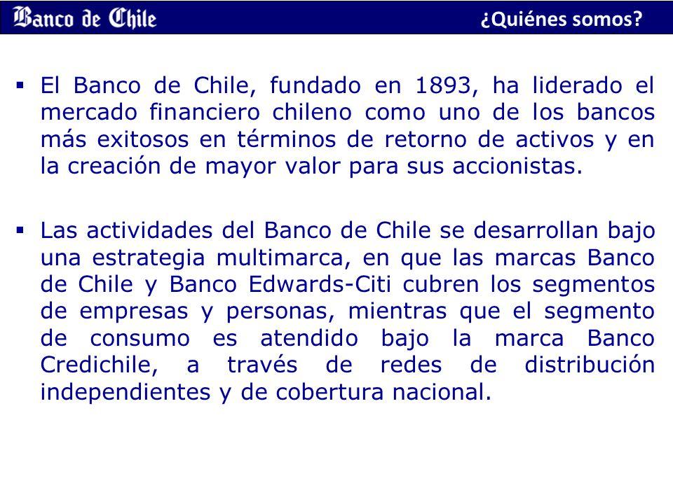 ¿Quiénes somos? El Banco de Chile, fundado en 1893, ha liderado el mercado financiero chileno como uno de los bancos más exitosos en términos de retor
