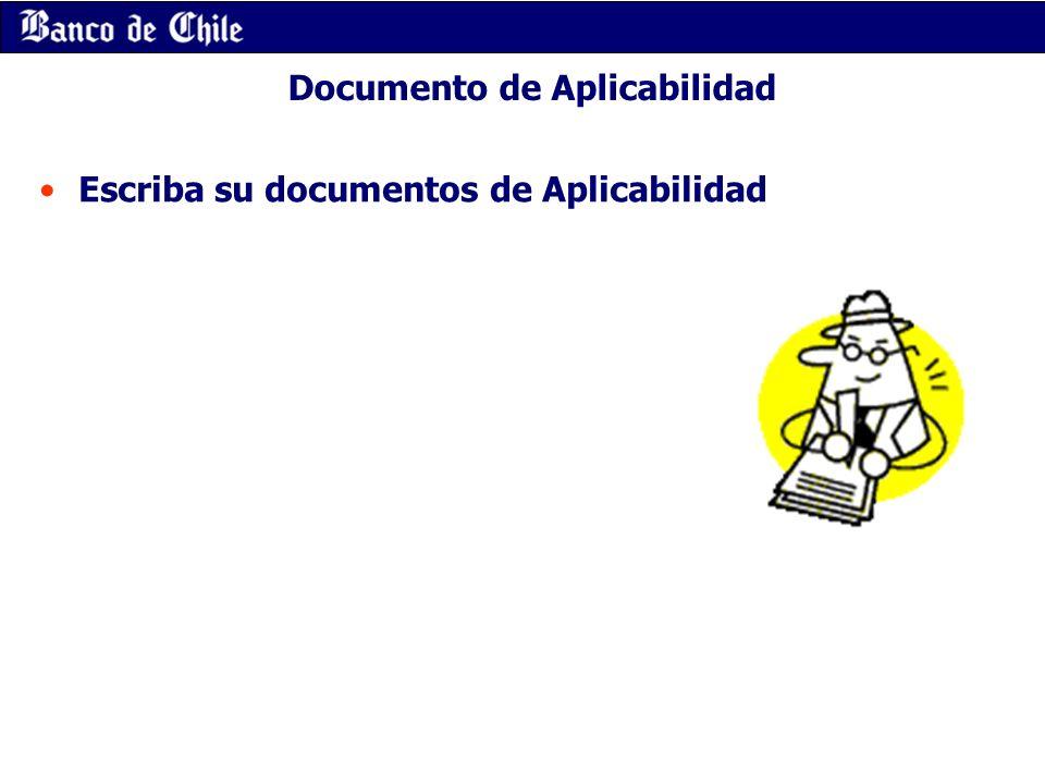Documento de Aplicabilidad Escriba su documentos de Aplicabilidad