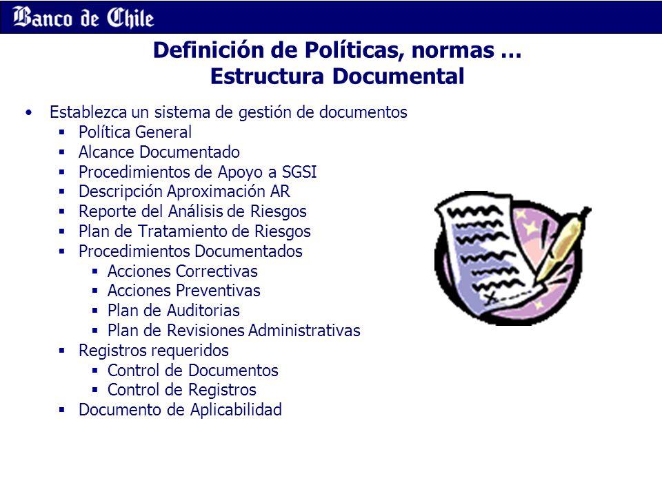 Definición de Políticas, normas … Estructura Documental Establezca un sistema de gestión de documentos Política General Alcance Documentado Procedimie