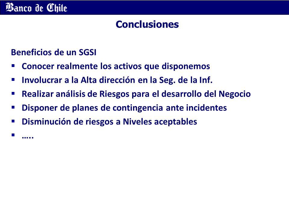 Conclusiones Beneficios de un SGSI Conocer realmente los activos que disponemos Involucrar a la Alta dirección en la Seg. de la Inf. Realizar análisis